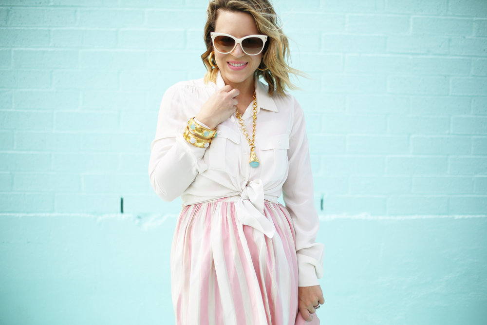 pink and white striped long dress: pink chanel: gold julie vos jewelry: worn two ways 3.jpg