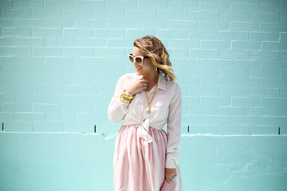 pink and white striped long dress: pink chanel: gold julie vos jewelry: worn two ways 2.jpg