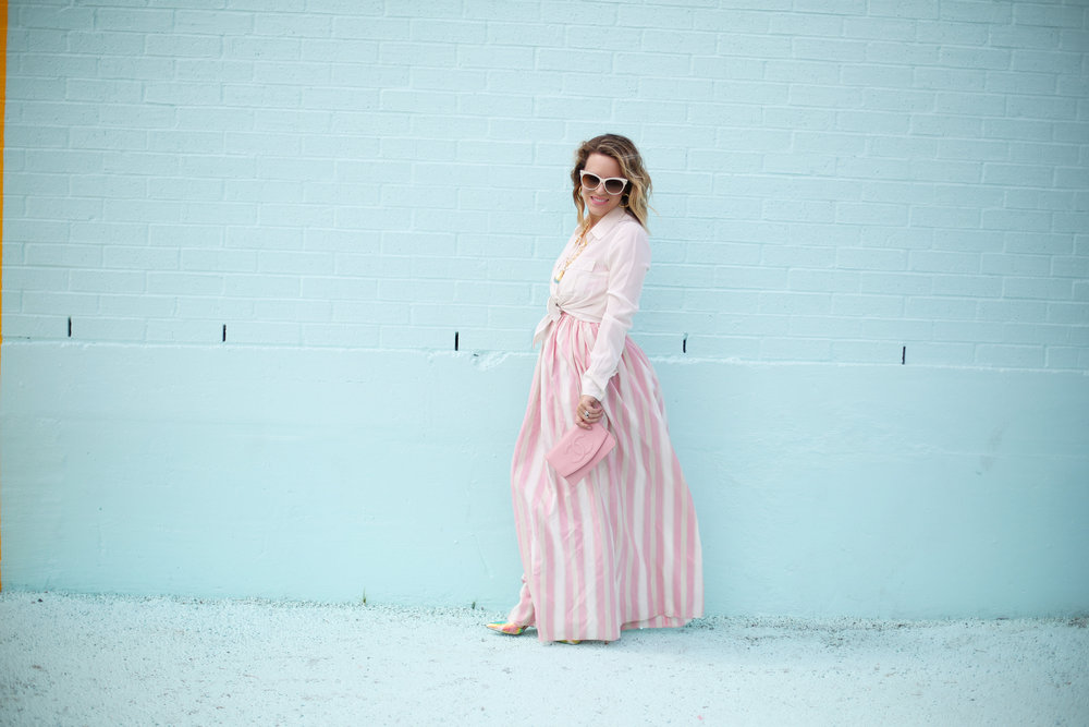 pink and white striped long dress: pink chanel: gold julie vos jewelry: worn two ways 4.jpg
