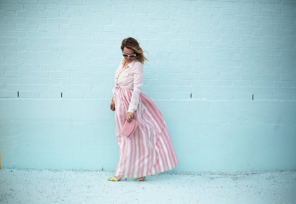 pink and white striped long dress: pink chanel: gold julie vos jewelry: worn two ways 5.jpg