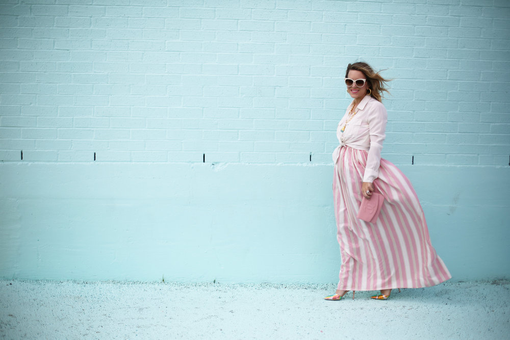 pink and white striped long dress: pink chanel: gold julie vos jewelry: worn two ways 6.jpg