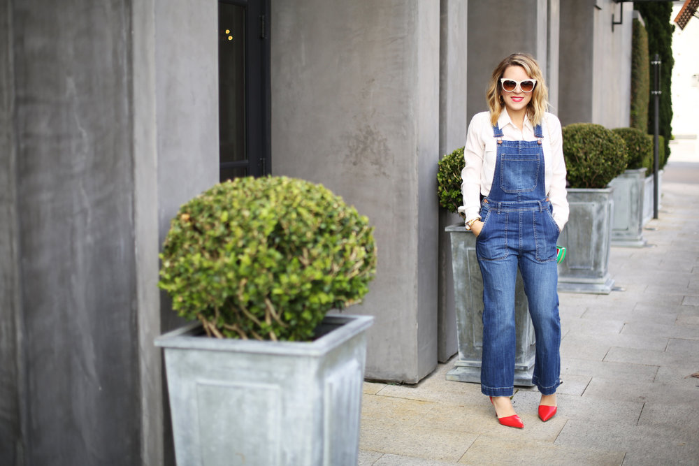 Denim overalls with watermelon clutch: white sunglasses: red pumps 3.jpg