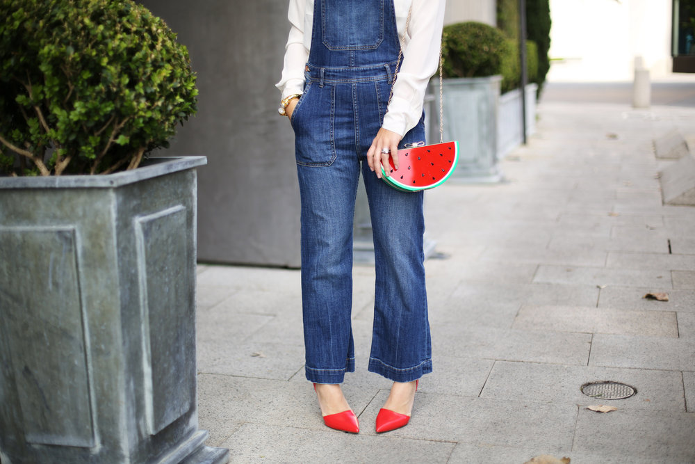Denim overalls with watermelon clutch: white sunglasses: red pumps 7.jpg