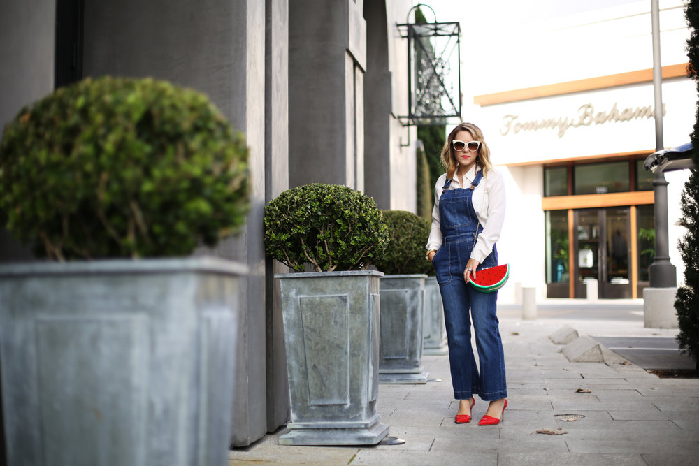 Denim overalls with watermelon clutch: white sunglasses: red pumps 4.jpg