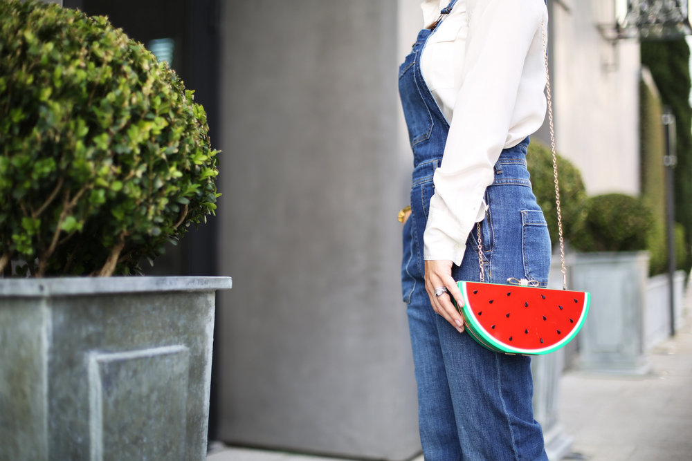 Denim overalls with watermelon clutch: white sunglasses: red pumps 6.jpg
