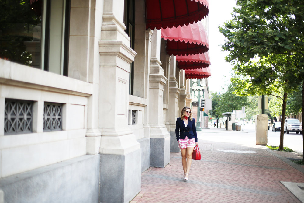 red, white and blue outfits, july 4th outfit, navy blazer and red handbag-1.jpg