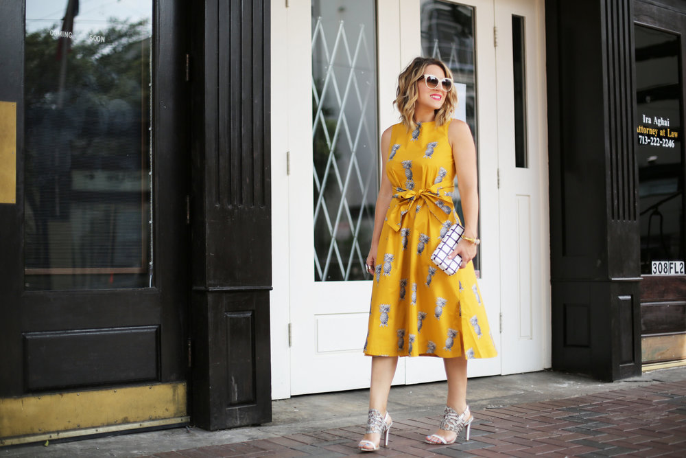 yellow pineapple dress with white sunglasses and black and white clutch-7.jpg