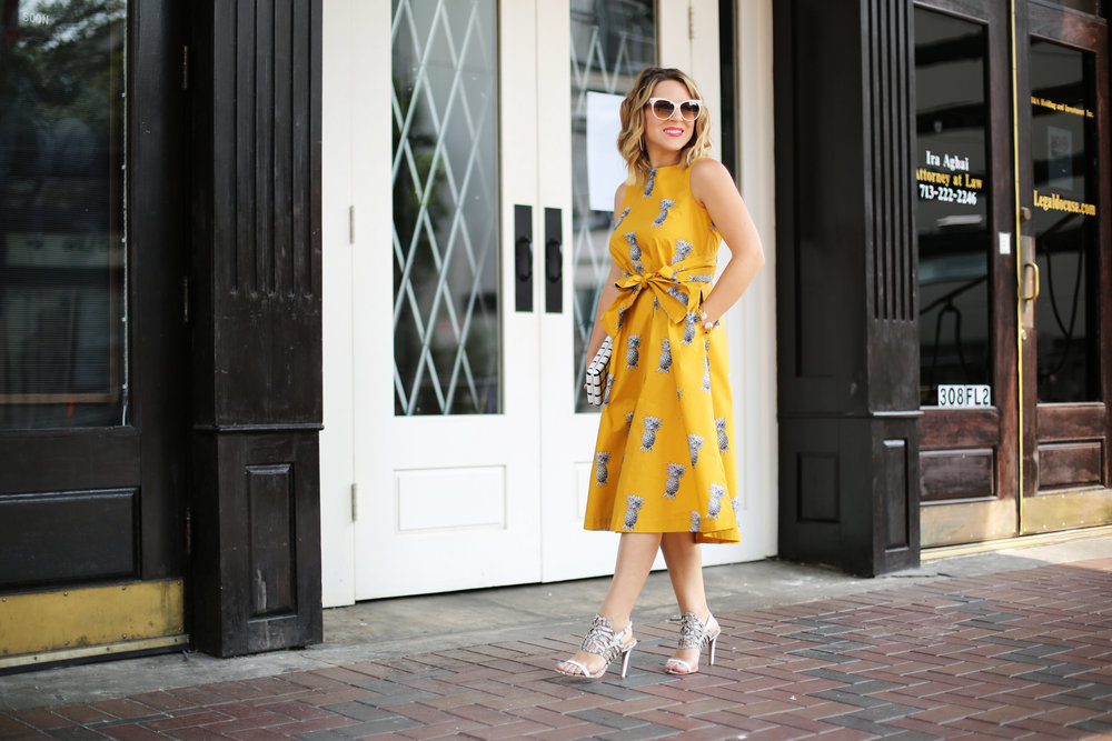 yellow pineapple dress with white sunglasses and black and white clutch-8.jpg