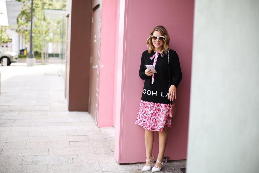 floral kate spade dress, pink wall, sprinkles cupcakes, chanel-9.jpg