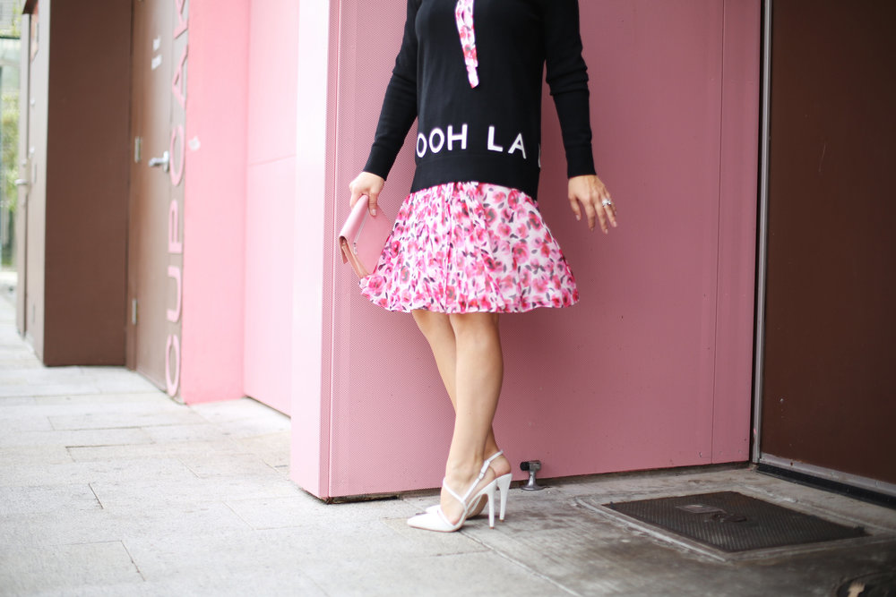 floral kate spade dress, pink wall, sprinkles cupcakes, chanel-4.jpg