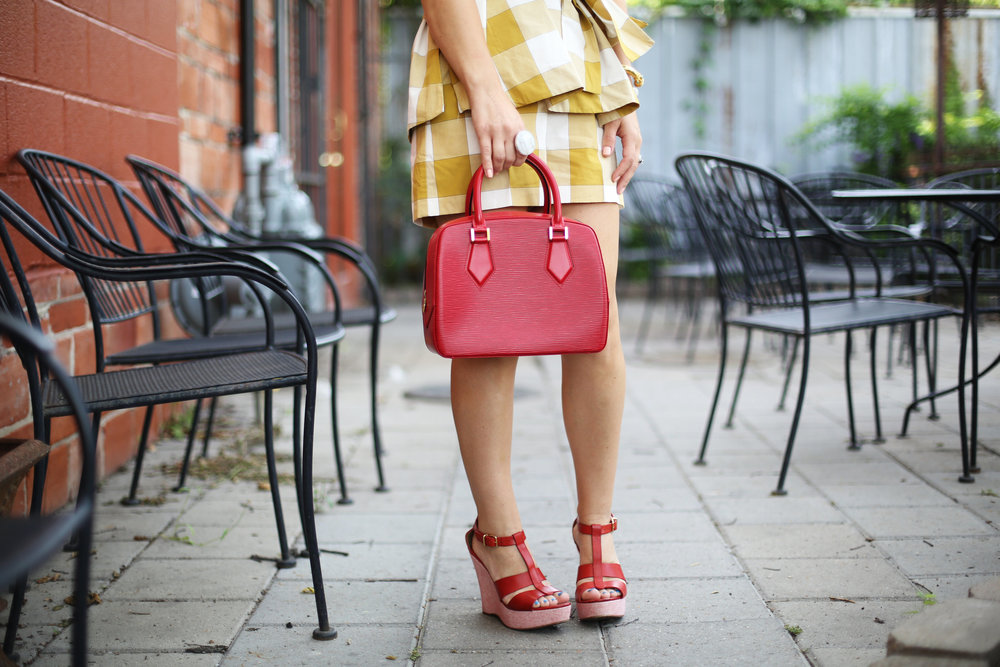 yellow gingham top and shorts with red sandals and red bag-7.jpg