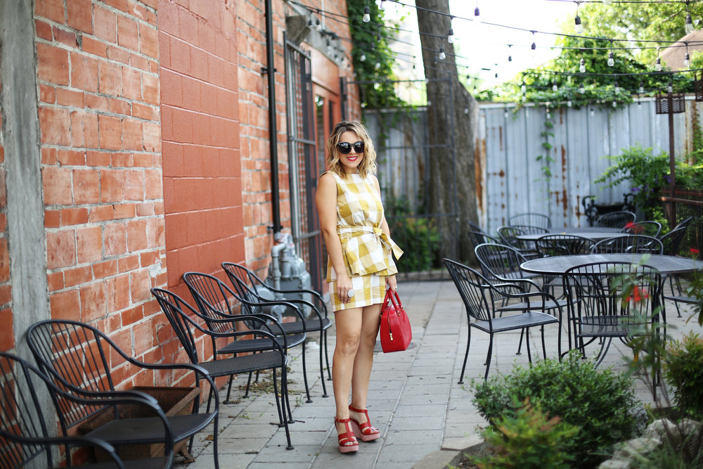 yellow gingham top and shorts with red sandals and red bag-10.jpg