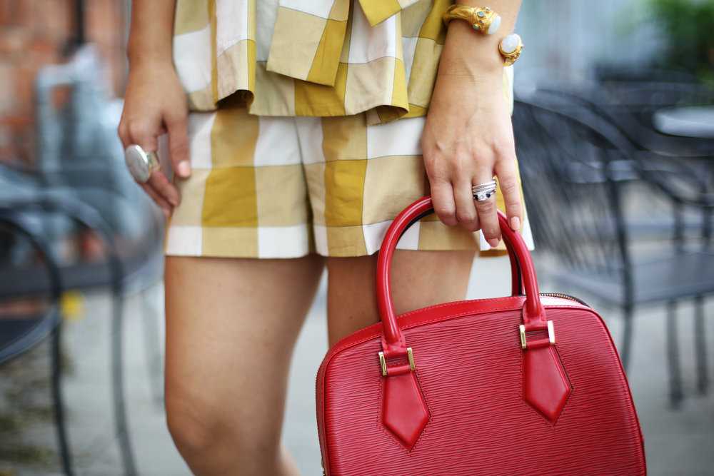 yellow gingham top and shorts with red sandals and red bag-4.jpg