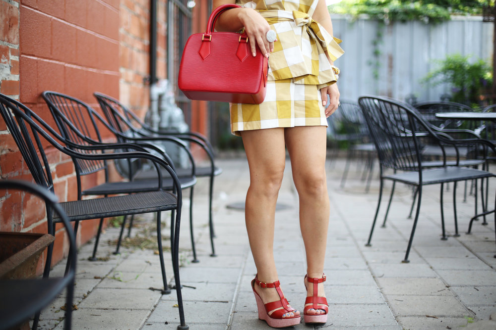 yellow gingham top and shorts with red sandals and red bag-6.jpg