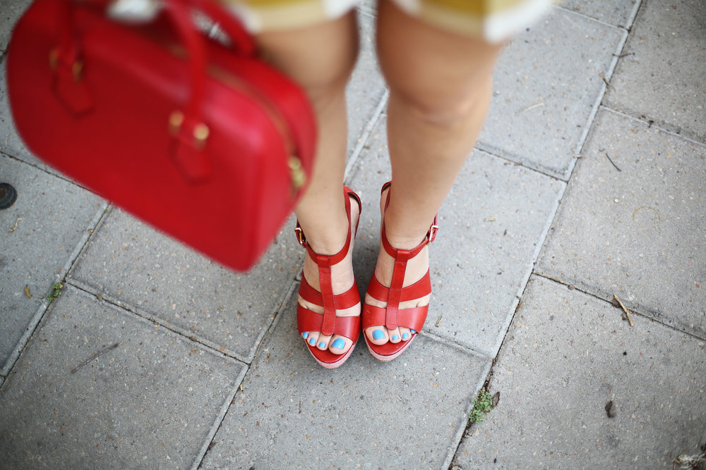 yellow gingham top and shorts with red sandals and red bag-2.jpg