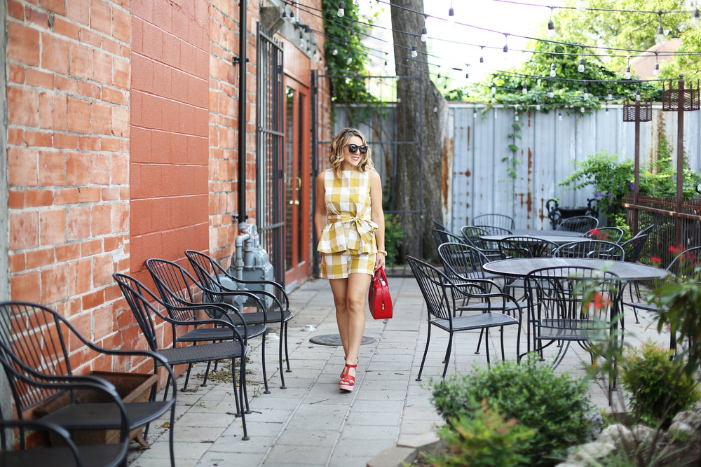 yellow gingham top and shorts with red sandals and red bag-9.jpg