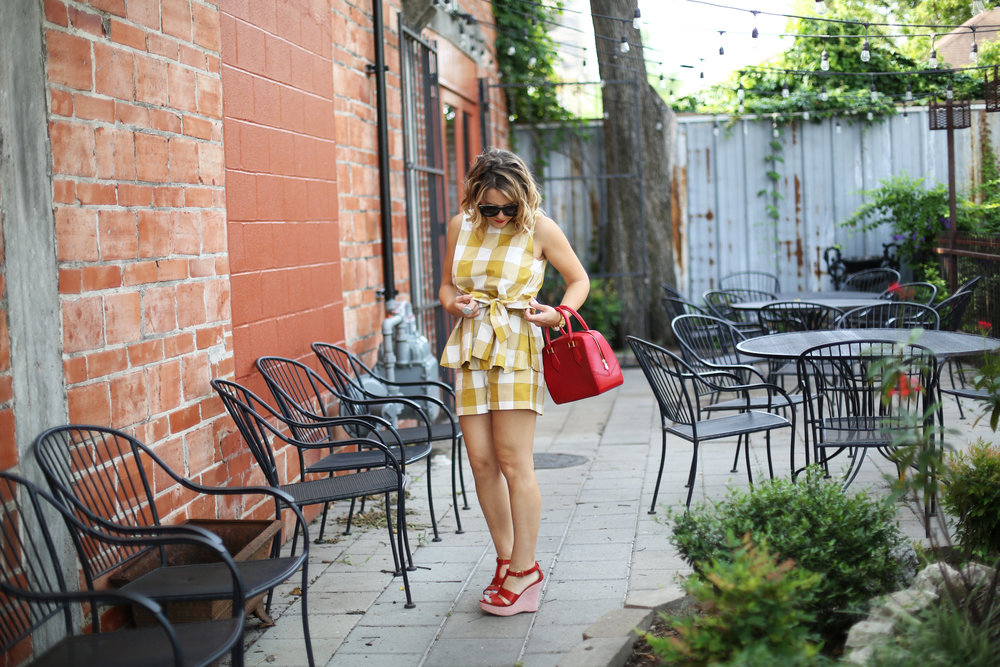yellow gingham top and shorts with red sandals and red bag-11.jpg