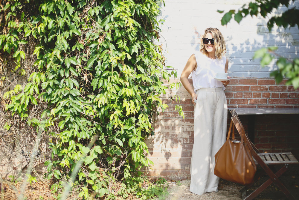 high waisted wide leg linen pants with white top and a latte-5.jpg