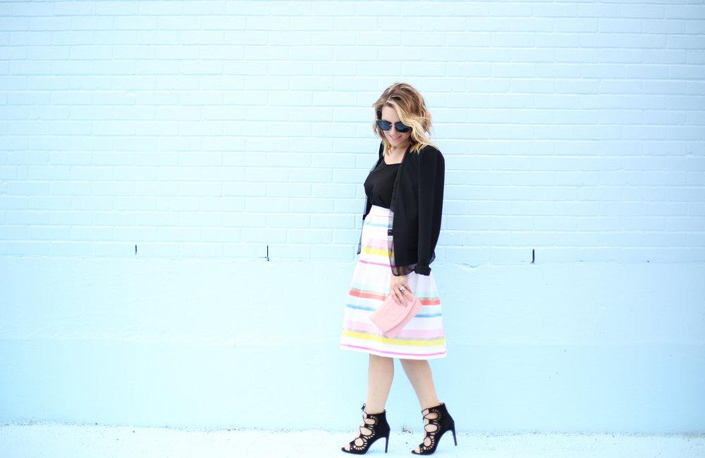 kate spade striped colorful skirt with black blazer-1.jpg