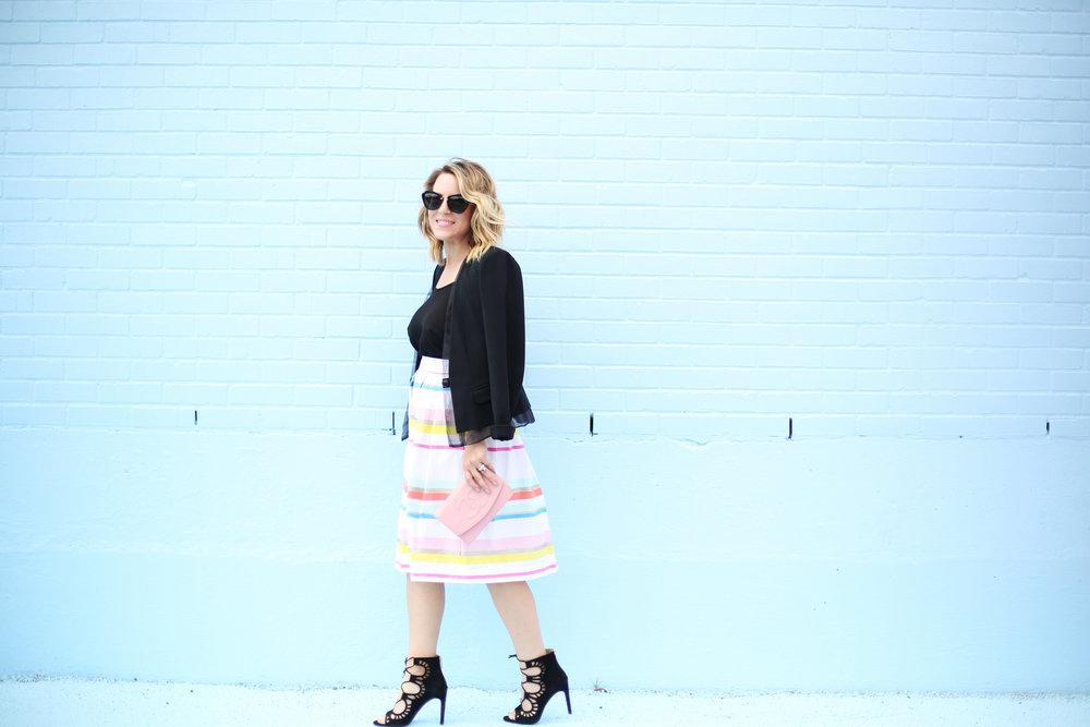 kate spade striped colorful skirt with black blazer-3.jpg