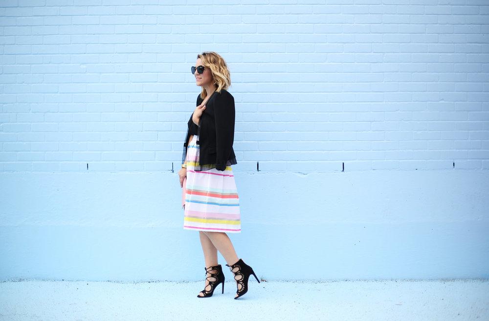 kate spade striped colorful skirt with black blazer-5.jpg