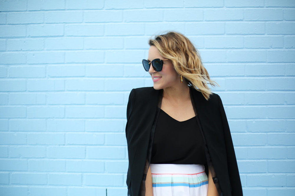 kate spade striped colorful skirt with black blazer-9.jpg