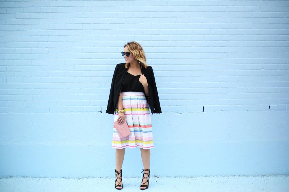 kate spade striped colorful skirt with black blazer-2.jpg