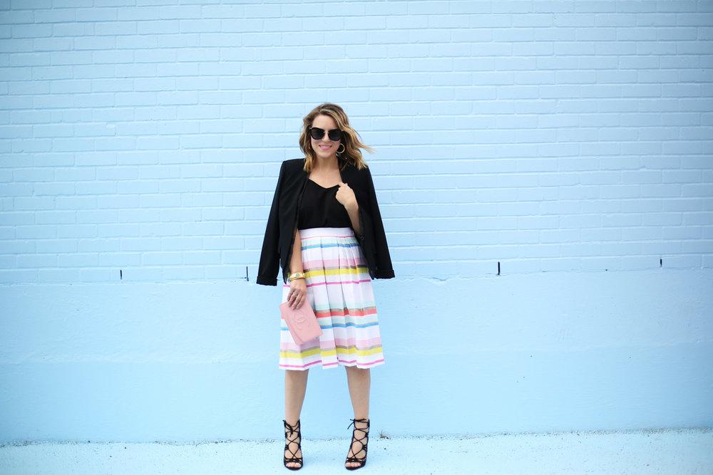 kate spade striped colorful skirt with black blazer-4.jpg