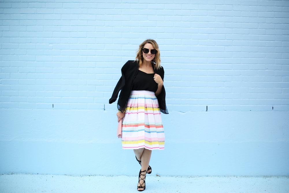 kate spade striped colorful skirt with black blazer-6.jpg