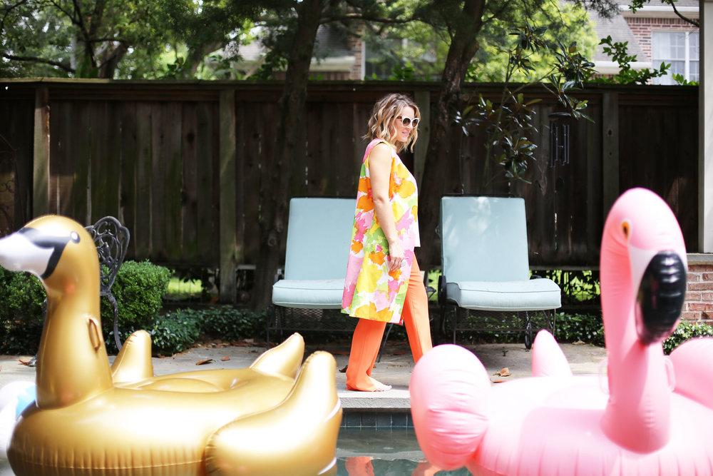 floral vest with trina turk orange slit pants and summer floats 1.jpg