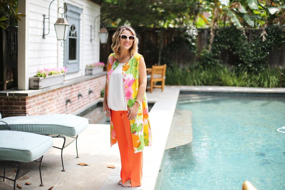 floral vest with trina turk orange slit pants and summer floats 2.jpg