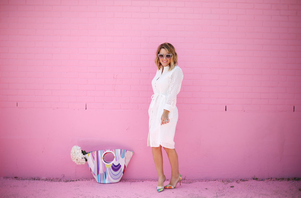 little white dress with trina turk tote on pink wall-2.jpg