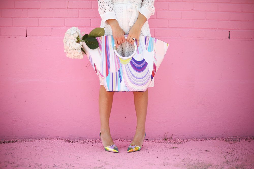 little white dress with trina turk tote on pink wall-4.jpg