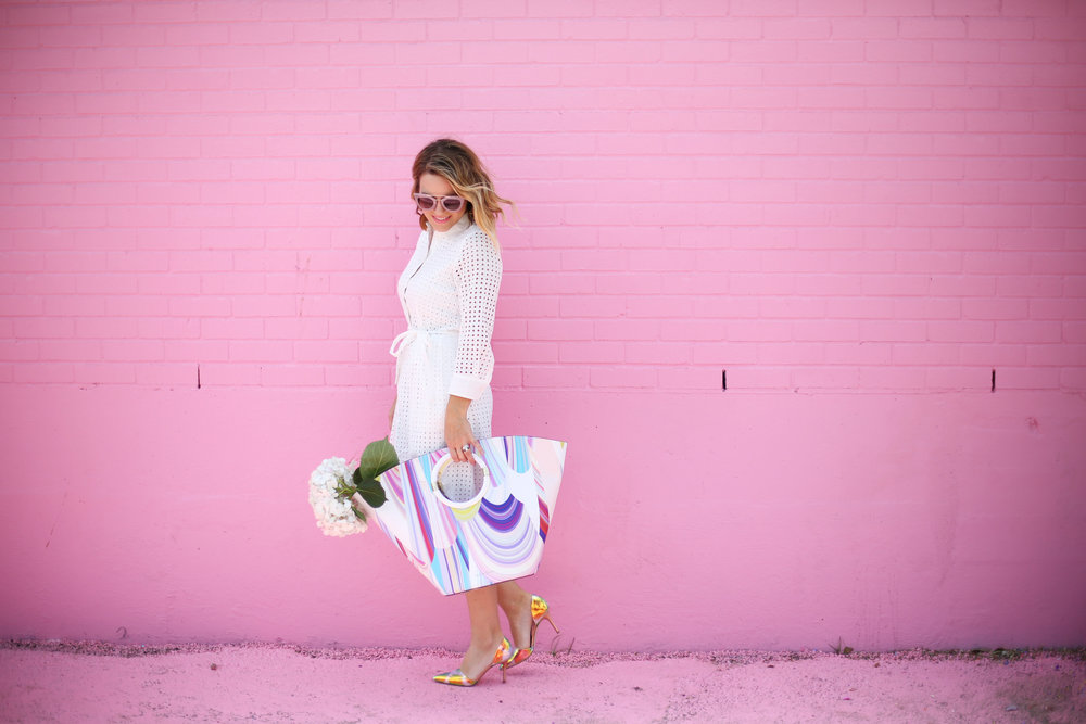 little white dress with trina turk tote on pink wall-6.jpg