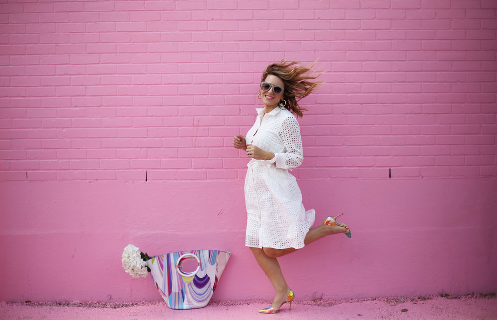 little white dress with trina turk tote on pink wall-1.jpg