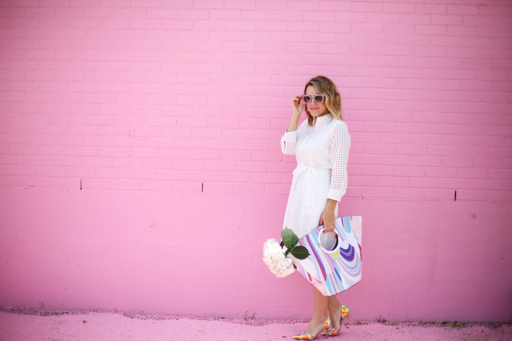 little white dress with trina turk tote on pink wall-7.jpg