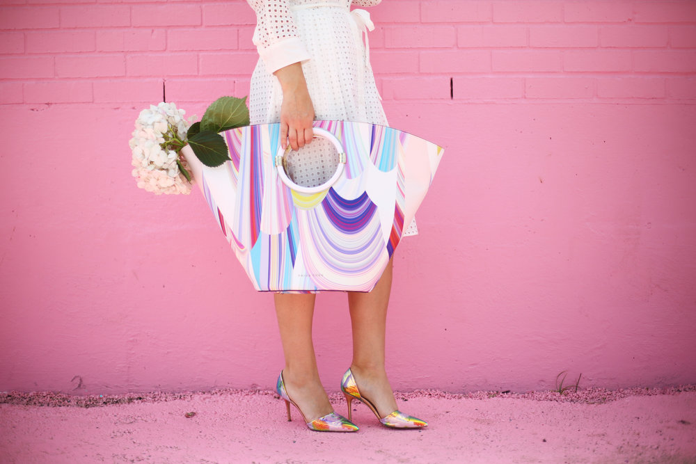 little white dress with trina turk tote on pink wall-5.jpg