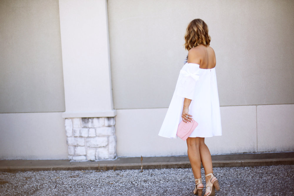 off the shoulder white dress with pink chanel handbag-5.jpg