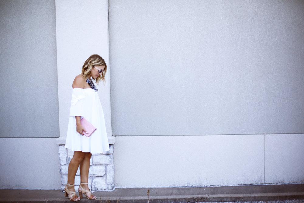 off the shoulder white dress with pink chanel handbag-3.jpg
