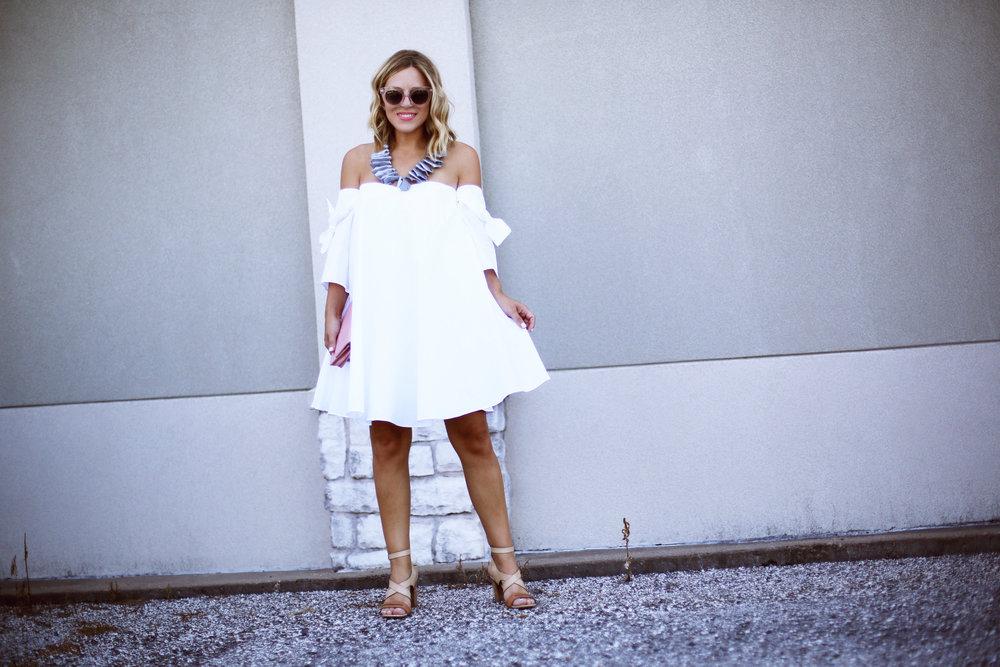 off the shoulder white dress with pink chanel handbag-9.jpg