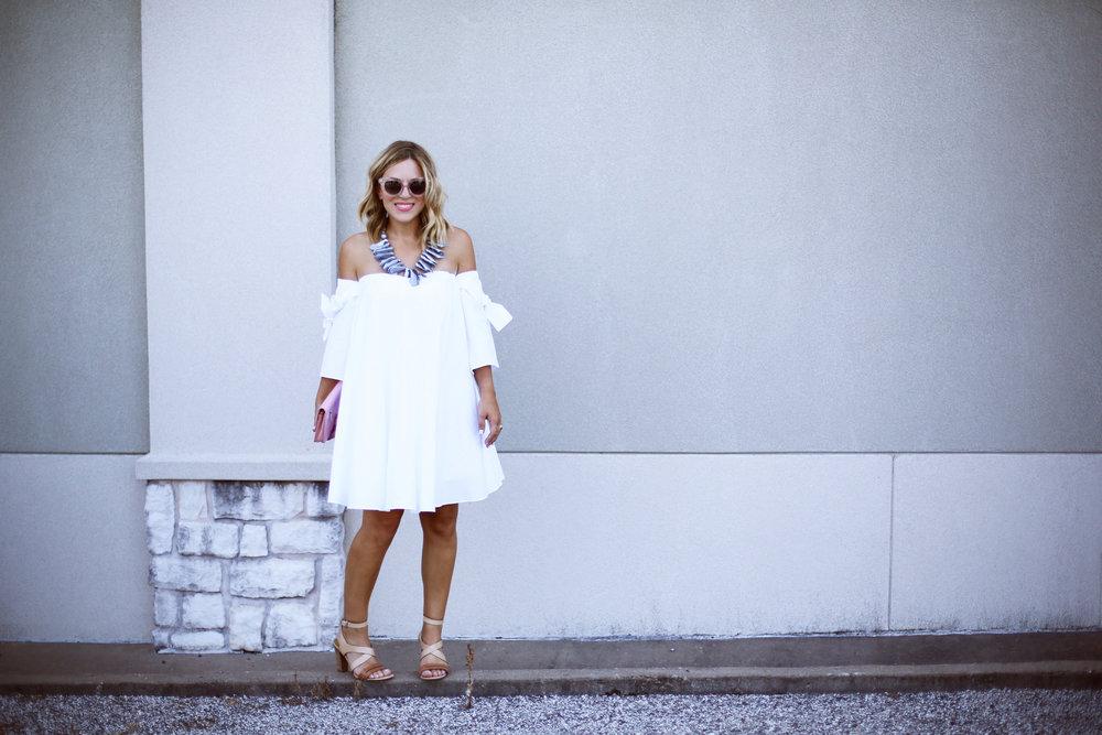 off the shoulder white dress with pink chanel handbag-13.jpg