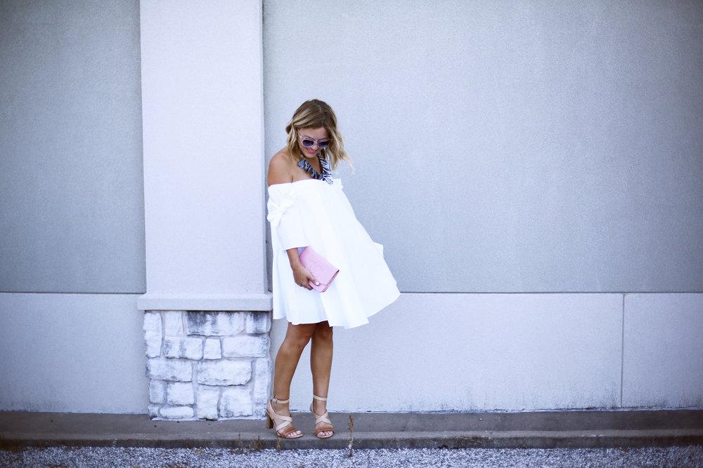 off the shoulder white dress with pink chanel handbag-11.jpg