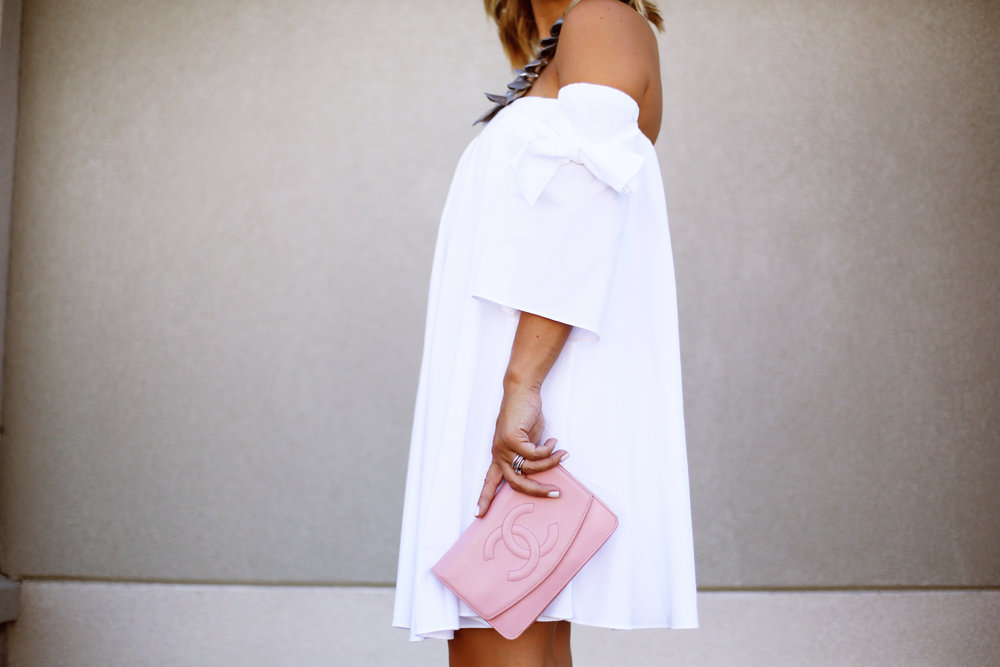 off the shoulder white dress with pink chanel handbag-4.jpg