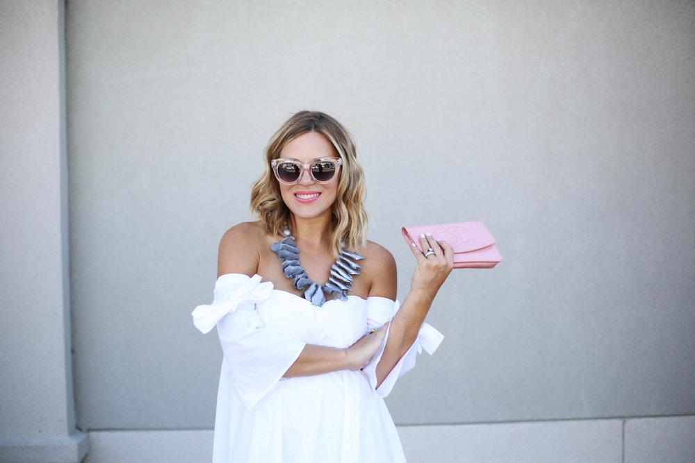 off the shoulder white dress with pink chanel handbag-10.jpg