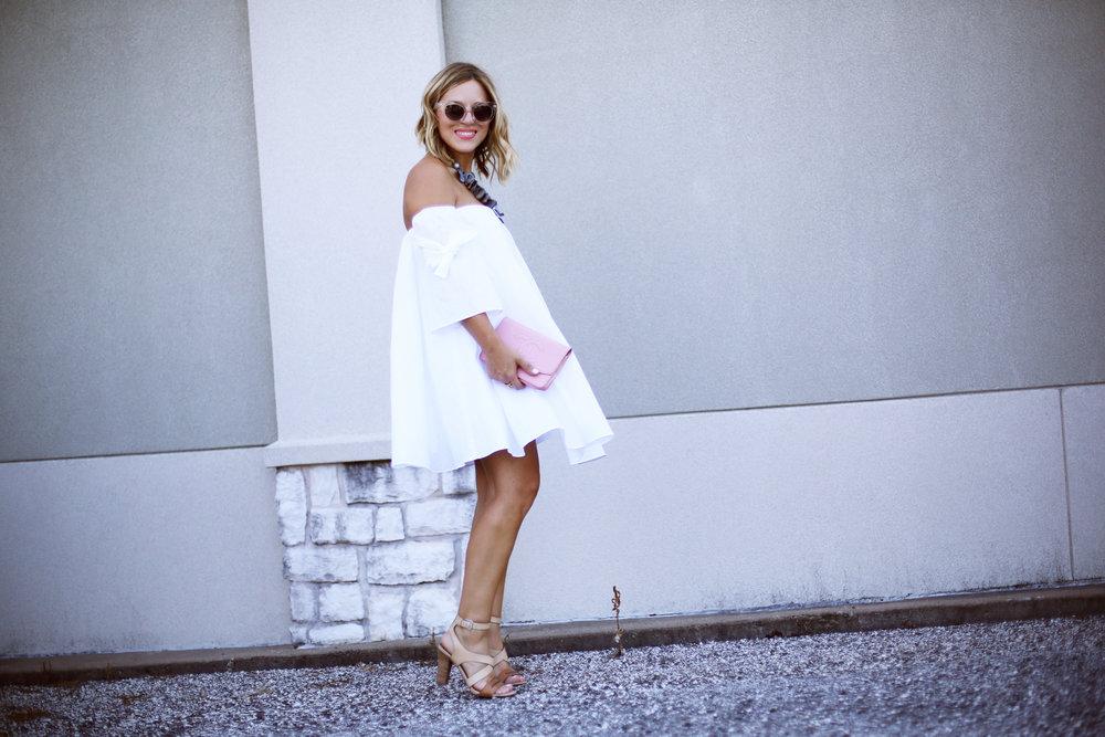 off the shoulder white dress with pink chanel handbag-12.jpg