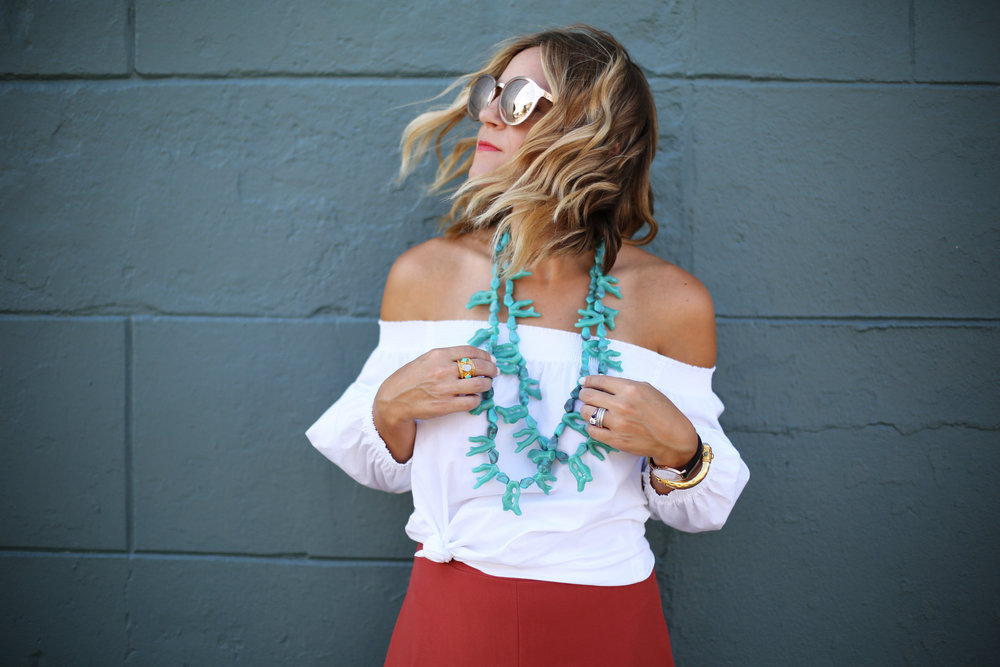Turquoise necklace:white off the shoulder top: orange pants: football game-5.jpg