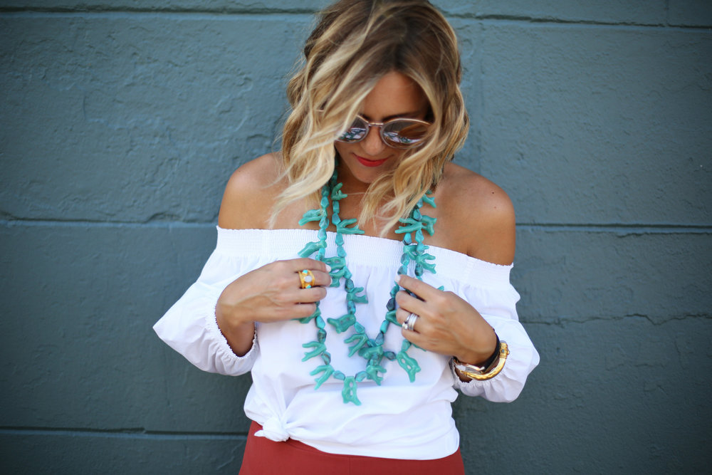 Turquoise necklace:white off the shoulder top: orange pants: football game-7.jpg