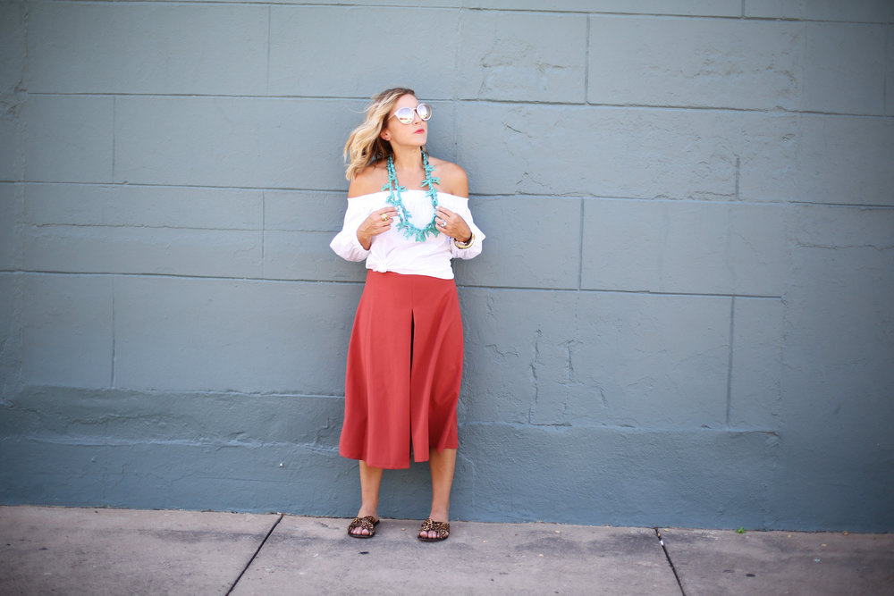 Turquoise necklace:white off the shoulder top: orange pants: football game-9.jpg