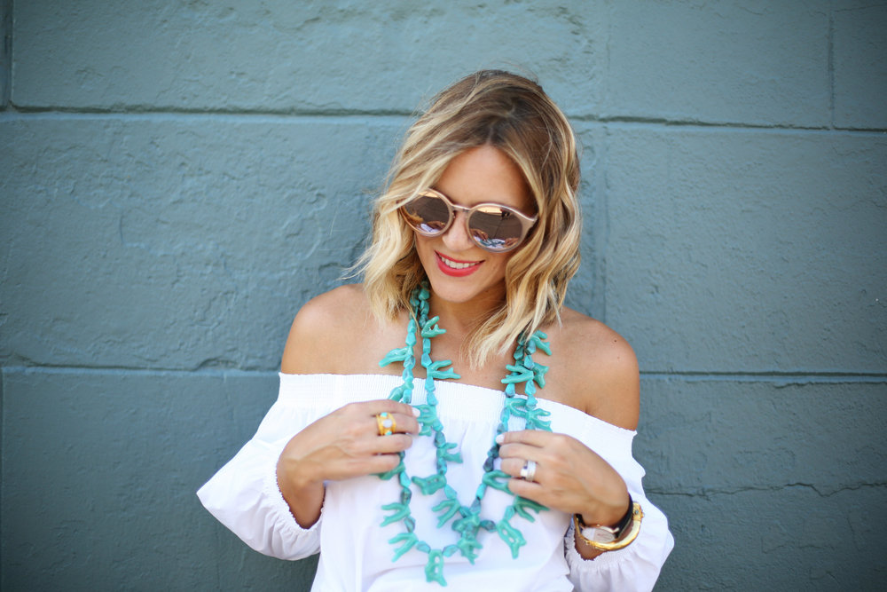 Turquoise necklace:white off the shoulder top: orange pants: football game-6.jpg
