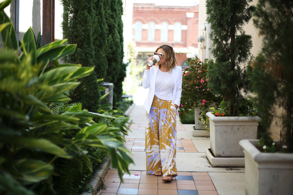 Wide leg printed pants:white blazer: fall transition-3.jpg